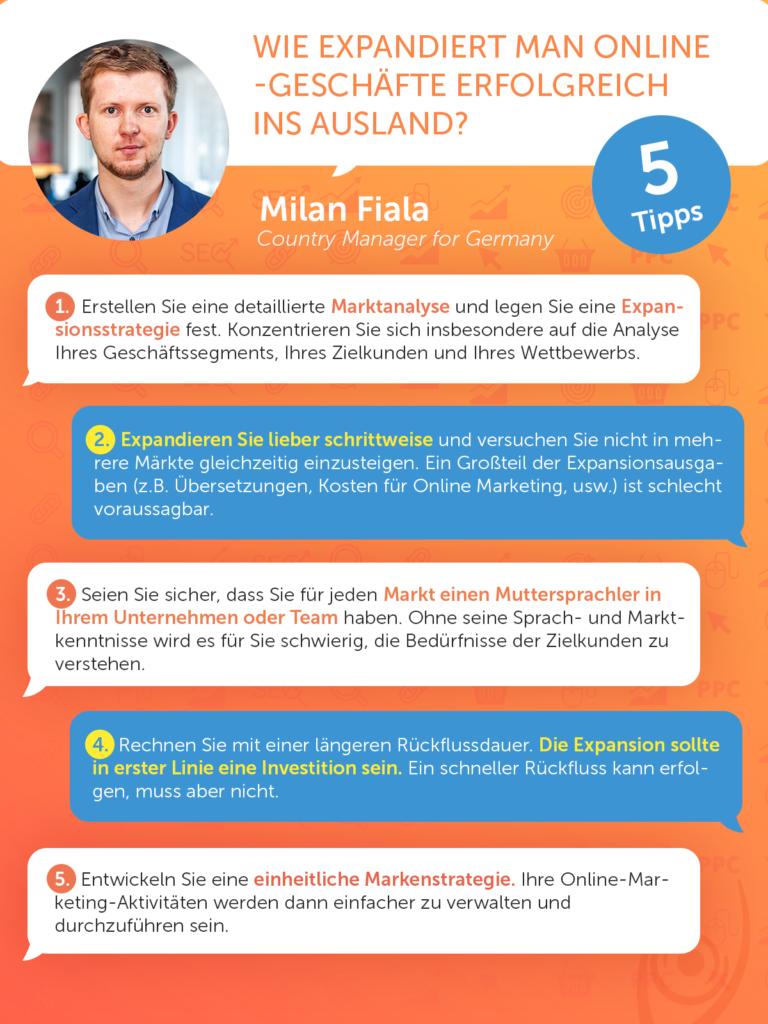 5 Tipps - Wie expandiert man Online-Geschäfte erfolgreich ins Ausland?  (Milan Fiala, Country Manager for Germany)